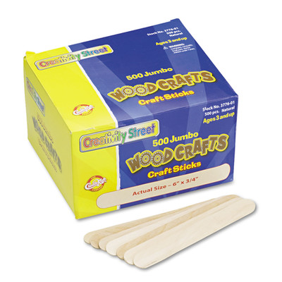 Creativity Street Natural Wood Craft Sticks, Jumbo Size, 6 x 0.75 inches, Wood, Natural, 500/Box - Part Number: 9005-20201