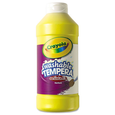 Crayola Artista II Washable Tempera Paint, Yellow, 16 oz - Part Number: 9005-20302