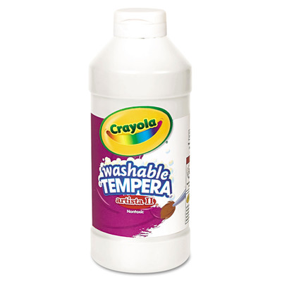 Crayola Artista II Washable Tempera Paint, White, 16 oz - Part Number: 9005-20305