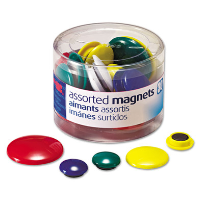 Officemate Assorted Magnets, Circles, Assorted Sizes & Colors, 30/Tub - Part Number: 9005-21201