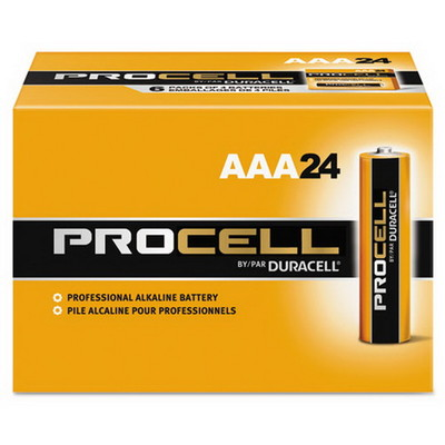 Duracell Procell Industrial Grade Alkaline Batteries, AAA, PC2400BKD, 24/Box - Part Number: 9081-01024