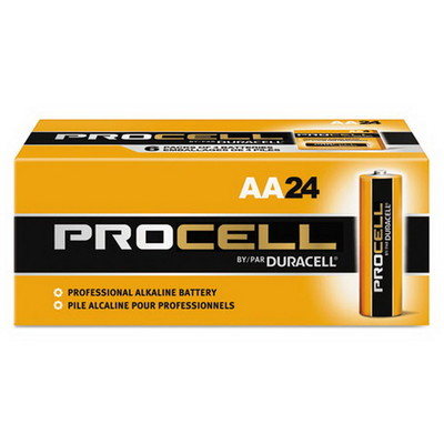 Duracell Procell Industrial Grade Alkaline Batteries, AA, PC1500BKD, 24/Box - Part Number: 9081-02024