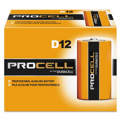 Duracell Procell Industrial Grade Alkaline Batteries, D, PC1300, 12/Box - Part Number: 9081-04012