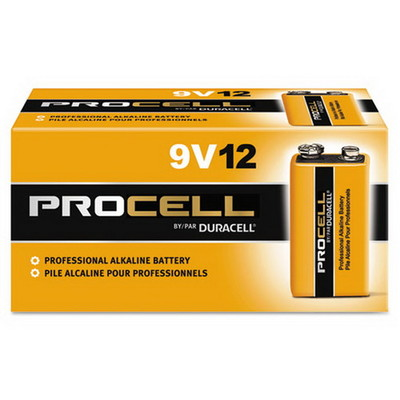Duracell Procell Industrial Grade Alkaline Batteries, 9 Volt, PC1604BKD, 12/Box - Part Number: 9081-05012