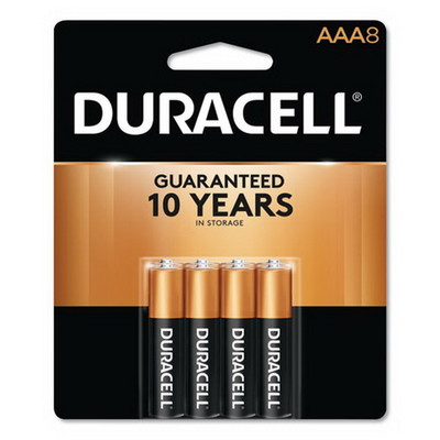 Duracell CopperTop Alkaline Batteries, AAA, MN2400B8Z, 8/PK - Part Number: 9082-01008