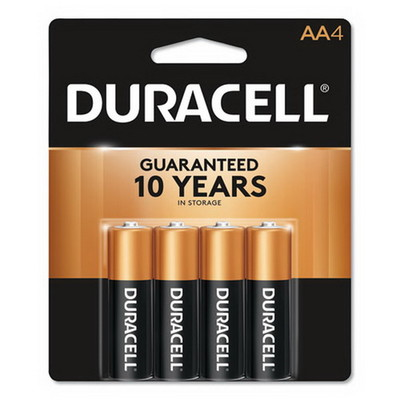 Duracell CopperTop Alkaline Batteries, AA, MN1500B4Z, 4/PK - Part Number: 9082-02004
