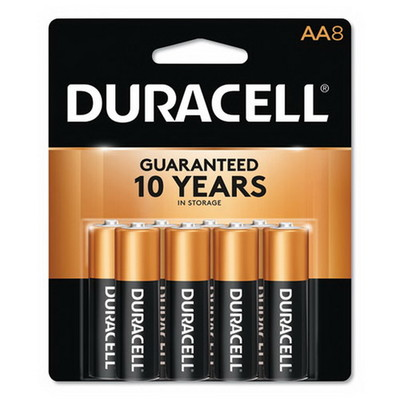 Duracell CopperTop Alkaline Batteries, AA, MN1500B8Z, 8/PK - Part Number: 9082-02008