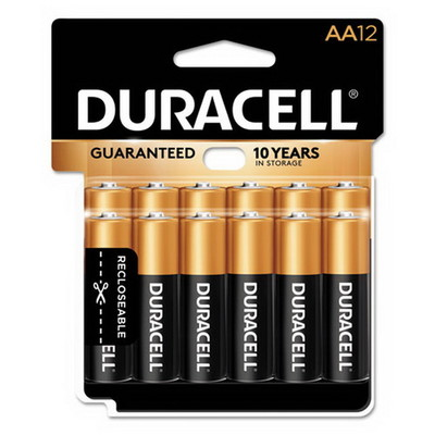 Duracell CopperTop Alkaline Batteries, AA, MN15RT12Z, 12/PK - Part Number: 9082-02012
