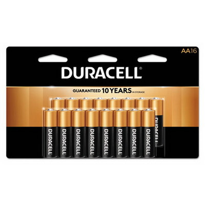 Duracell CopperTop Alkaline Batteries, AA, MN1500B16Z, 16/PK - Part Number: 9082-02016