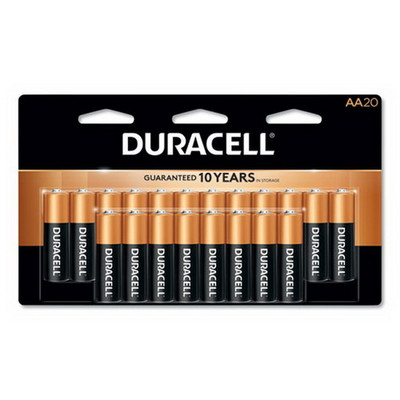 Duracell CopperTop Alkaline Batteries, AA, MN1500B20Z, 20/PK - Part Number: 9082-02020