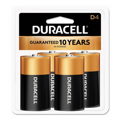 Duracell CopperTop Alkaline Batteries, D, MN1300R4Z, 4/PK - Part Number: 9082-04004