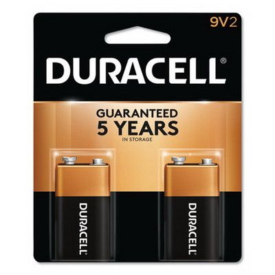 Duracell CopperTop Alkaline Batteries, 9V, MN1604B2Z, 2/pk - Part Number: 9082-05002