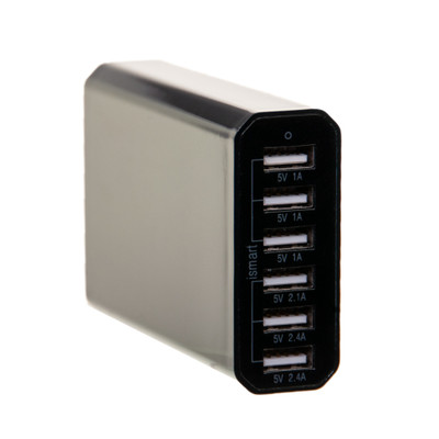 6 Port USB Travel Charge Station.  Total 10A. Ports: 3@1A. 1@2.1A. 2@2.4A. Gloss Black. 4 foot power cord. - Part Number: 90W1-20106