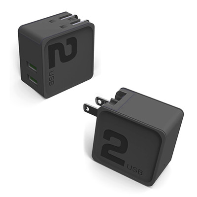 2 Port USB Wall Travel Charger, dual USB A female ports,  5V/2 1A output, Folding plug, Black - Part Number: 90W1-30310BK