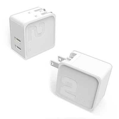 2 Port USB Wall Travel Charger, dual USB A female ports,  5V/2 1A output, Folding plug, White - Part Number: 90W1-30310WH