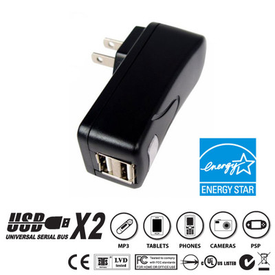 2 Port USB Wall Charger, Black, 2.1 Amps for Powering Smart Phones, Tablets, and Other USB Powered devices - Part Number: 90W1-31200BK