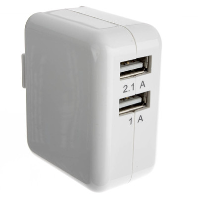 2 Port USB Wall Travel Charger, White, 3.1 Amps for Powering Smart Phones, Tablets, and Other USB Powered devices - Part Number: 90W1-31300WH