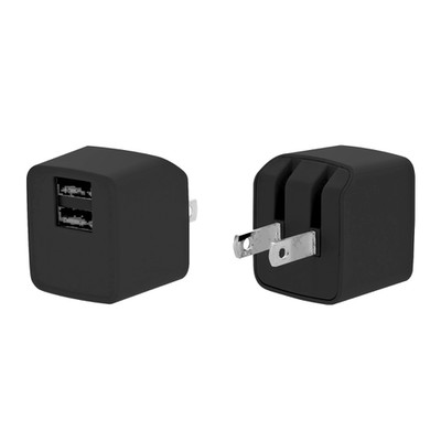 2 Port USB Wall Travel Charger, dual USB A female ports,  5V/2 1A output, Folding plug, Black - Part Number: 90W1-314BK