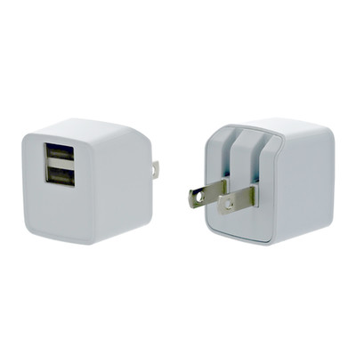 2 Port USB Wall Travel Charger, dual USB A female ports,  5V/2 1A output, Folding plug, White - Part Number: 90W1-314WH