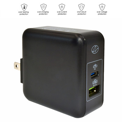 2 Port USB Wall Travel Charger, USB C w/ USB PD 3.1A, USB A /w QC3 3.1A, 36W, Black - Part Number: 90W1-41000BK
