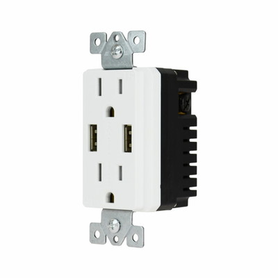 White Decora Style Duplex AC 15A 125V Outlet (2 x Nema 5-15R) Featuring Dual USB charge ports providing 4.0 Amps ( USB A Female 2 A each) - Part Number: 90W1-70100