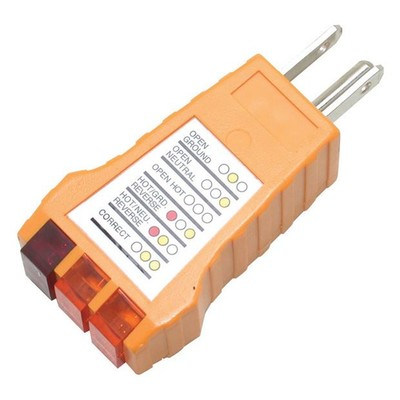 Receptacle Tester for Standard Outlets tests NEMA 5-15P sockets for correct wiring - Part Number: 90W1-80100