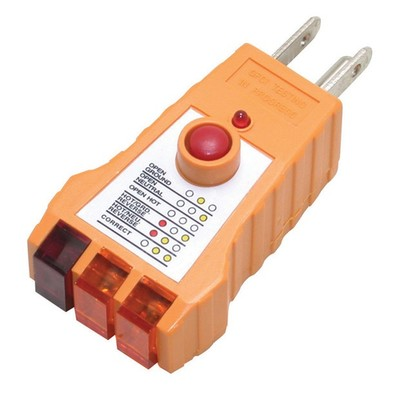 Receptacle Tester for GFCI Outlets tests NEMA 5-15P sockets for correct wiring - Part Number: 90W1-80110