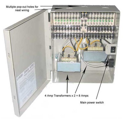18 Port Power Distribution Box, 24 Volts AC / 8 Amps - Part Number: 90W2-18124