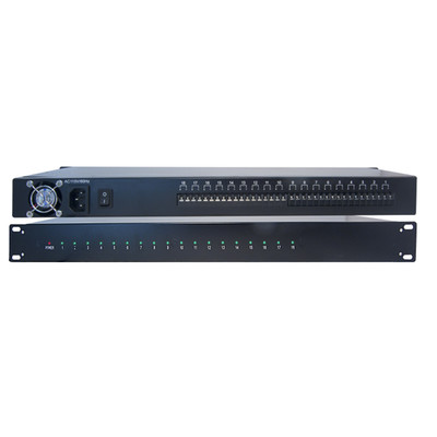 Rackmount 18 Port Power Supply, 12 Volts DC / 10 Amps, Supports 18 Cameras, 1U, 19 inch - Part Number: 90W2-19112