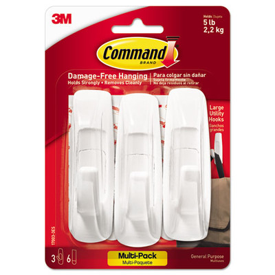 3M Command General Purpose Hooks Multi-Pack, Large, 5lb Cap, White, 3-Hooks + 6-Strips/Pack - 170033ES - Part Number: 9301-01104