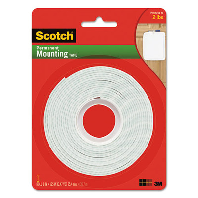 3M Scotch Permanent High-Density Foam Mounting Tape, 1 inch Wide x 125 inch Long - 112L - Part Number: 9301-01201