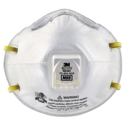 3M Particulate Respirator 8210V, N95, Cool Flow Valve, 10/Box - Part Number: 9307-00101