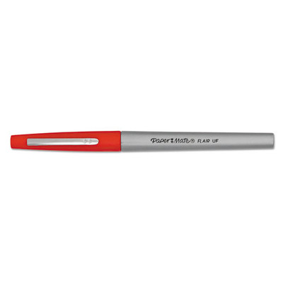 PaperMate Flair Felt-Tip Porous Marker Pen, 0.4mm, Red, 12pack - Part Number: 9312-00604