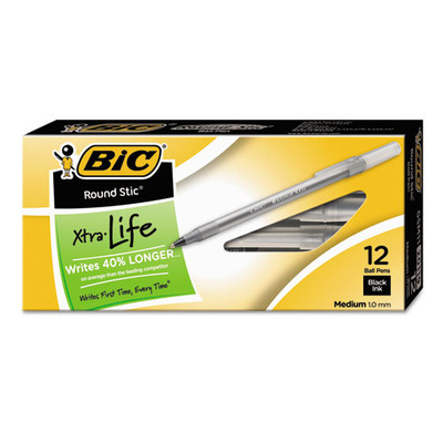 Bic Round Stic Xtra Life Stick Ballpoint Pen - GSM11BK, 1mm, Black Ink, Smoke Barrel, 12/pack - Part Number: 9312-00701