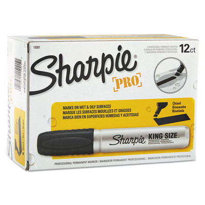 Sharpie King Size Permanent Marker, Broad Chisel Tip, Black, 12/pack - Part Number: 9312-10204