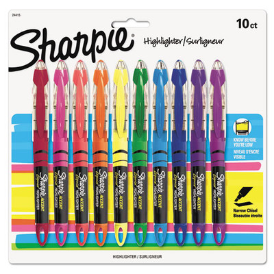 Sharpie Accent Liquid Pen Style Highlighter, Chisel Tip, Assorted, 10/Pack - Part Number: 9312-21101