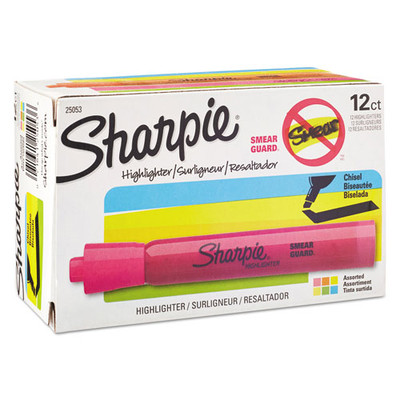 Sharpie Accent Tank Style Highlighter, Chisel Tip, Assorted Colors, 12/Pack - Part Number: 9312-21102