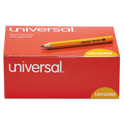 Universal Golf + Pew Pencil, HB, Yellow Barrel, 144/Box - UNV24264 - Part Number: 9312-23144