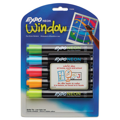 Expo Neon Windows Dry Erase Marker, Broad Bullet Tip, Assorted Colors, 5/Pack - Part Number: 9312-30103