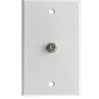 TV Wall Plate with 1 F-pin Coupler, White - Part Number: ASF-20251WH
