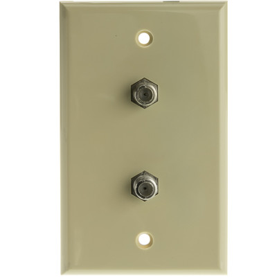 TV Wall Plate with 2 F-pin Couplers, Ivory - Part Number: ASF-20252