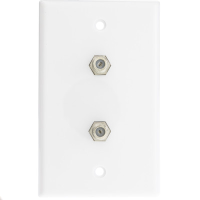 TV Wall Plate with 2 F-pin Couplers, White - Part Number: ASF-20252WH