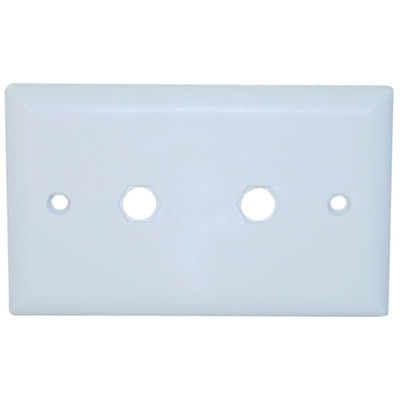 Wall Plate, 2 holes for F-pin Connectors, White - Part Number: ASF-20253WH