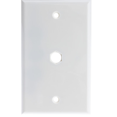 Wall Plate, 1 hole for F-pin Connector, White - Part Number: ASF-20254WH