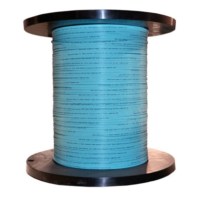 12 Fiber Indoor Distribution Fiber Optic Cable, Multimode, 50/125, OM3, 10 Gbit, Aqua, Riser Rated, Spool, 1000 foot - Part Number: 10F2-312NH