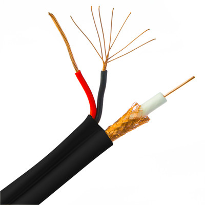 Bulk RG59 Siamese Coaxial/Power Cable, Black, Copper-clad Steel core, 18/2 (18 AWG 2 Conductor) CCA Power, Pullbox, 500 foot - Part Number: 10X3-28222TF