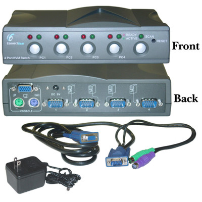 4 Port KVM Switch with Cables, VGA (HD15) and PS/2 (MiniDin6) - Part Number: GENIE4