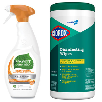 Case of 8 - Seventh Generation Botanical Disinfecting Multi-Surface Cleaner, 26 oz Spray Bottle, and Case of 6 - Clorox Commercial Disinfecting Wipes, 7 x 8, Fresh Scent, 75/Canister - Part Number: KIT-CLOROX-15