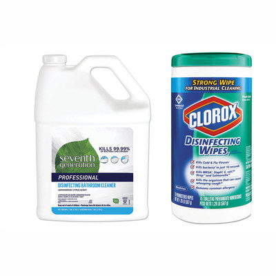 Seventh Generation Disinfecting Bathroom Cleaner, Lemongrass Citrus, 1 gal Bottle, and 1 Canister of Clorox Commercial Disinfecting Wipes, 7 x 8, Fresh Scent, 75 Sheets - Part Number: KIT-CLOROX-4