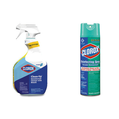 Clorox Clean-Up Disinfectant Cleaner with Bleach, 32oz Smart Tube Spray, and  Clorox Disinfecting Spray, Fresh, 19oz Aerosol - Part Number: KIT-CLOROX-7